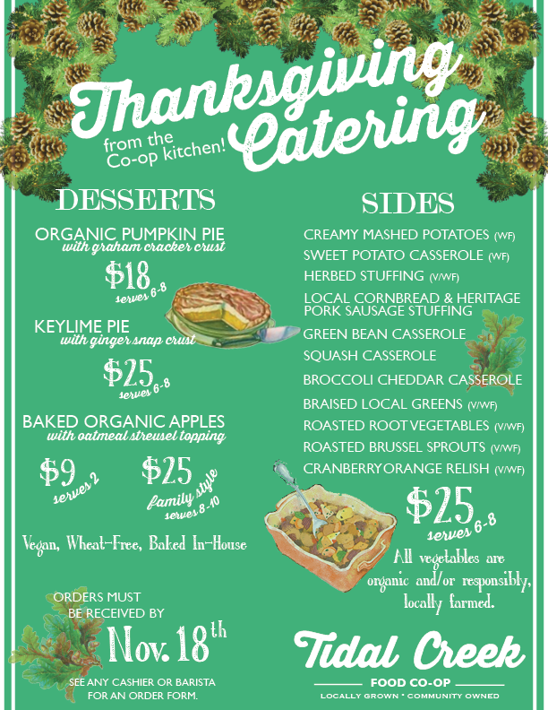 Let Tidal Creek Cater Your Thanksgiving!